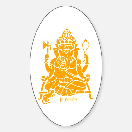 Jai Ganesh (Orange) Oval Stickers