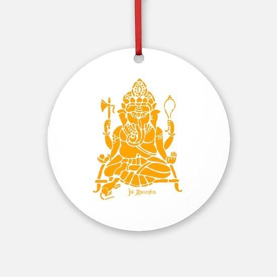 Jai Ganesh (Orange) Round Ornament