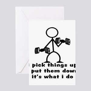 Stick Figure Body Builder Greeting Cards