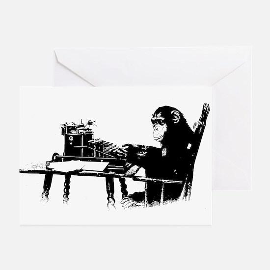Typing chimpanze Greeting Cards (Pk of 20)