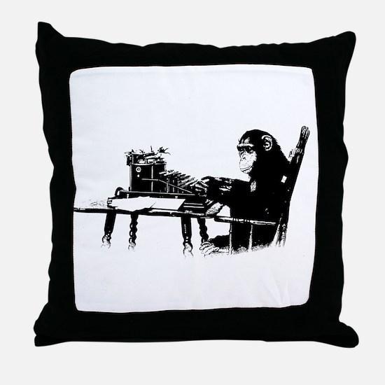 Typing chimpanze Throw Pillow