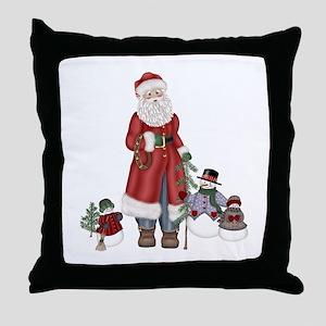 SnowFamily and Santa Throw Pillow