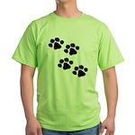 Pet Paw Prints Green T-Shirt