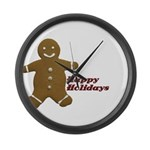 Happy Holidays Gingerbread Large Wall Clock