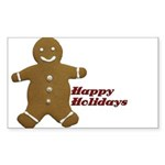 Happy Holidays Gingerbread Rectangle Sticker 50 p