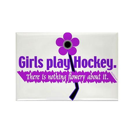 Girls play Hockey Rectangle Magnet