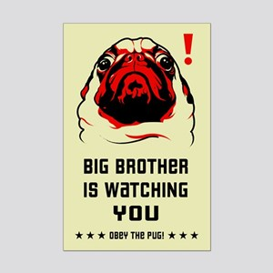 Pug Big Brother Mini Poster Print