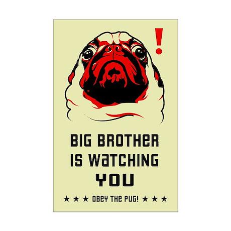 Pug Big Brother Mini Poster Print