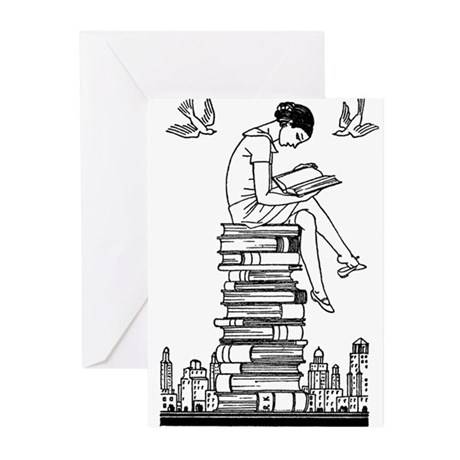 Reading Girl atop books Greeting Cards (Pk of 10)