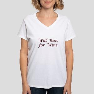 Will Run for Wine Women's V-Neck T-Shirt