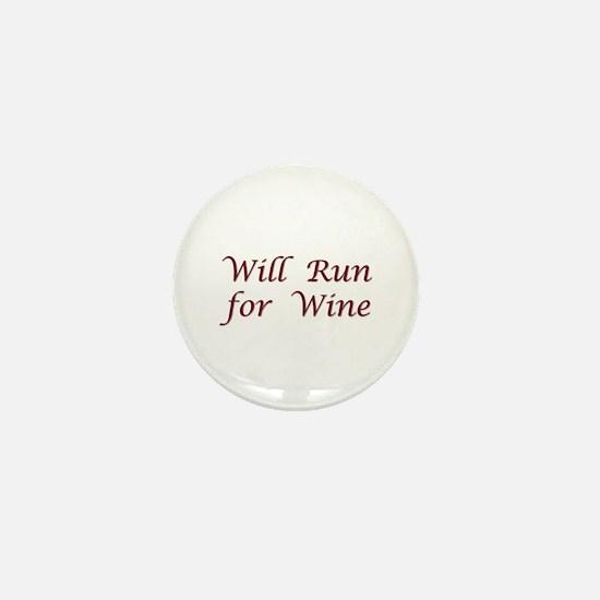 Will Run for Wine Mini Button
