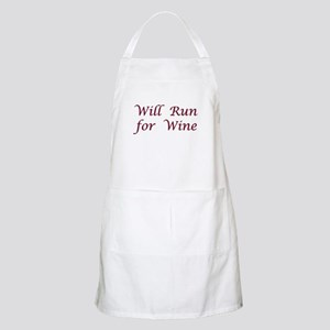 Will Run for Wine BBQ Apron