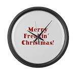 Merry Freakin' Christmas Large Wall Clock