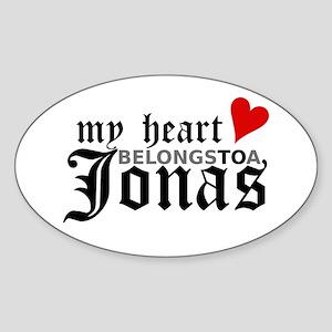 My Heart Belongs to a Jonas Oval Sticker