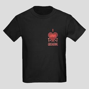 I Love Geocaching Kids Dark T-Shirt