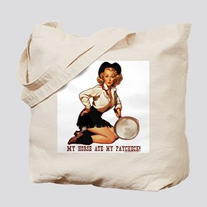 Cowgirl Horse Ate Paycheck Tote Bag