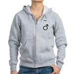 Male Single Sex Symbol Women's Zip Hoodie