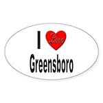 I Love Greensboro Oval Sticker (10 pk)