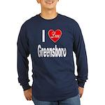 I Love Greensboro (Front) Long Sleeve Dark T-Shirt