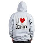 I Love Greensboro (Back) Zip Hoodie