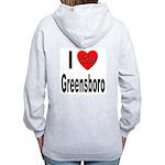 I Love Greensboro (Back) Women's Zip Hoodie