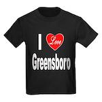 I Love Greensboro (Front) Kids Dark T-Shirt
