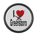 I Love Greensboro Large Wall Clock