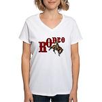 Vintage Rodeo Bronc Rider Women's V-Neck T-Shirt