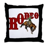 Vintage Rodeo Bronc Rider Throw Pillow
