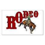 Vintage Rodeo Bronc Rider Rectangle Sticker 10 pk