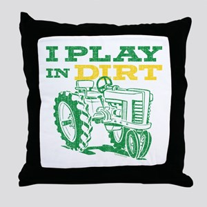 Play In Dirt Tractor Throw Pillow