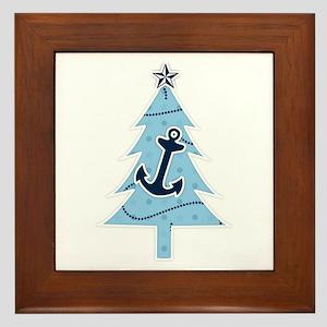 Navy Christmas Tree Framed Tile