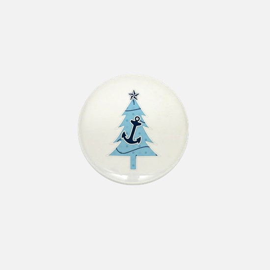 Navy Christmas Tree Mini Button
