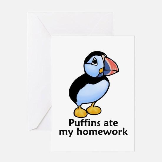 Puffins ate my homework Greeting Card