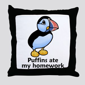Puffins ate my homework Throw Pillow