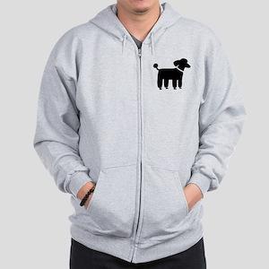 Black Poodle Zip Hoodie