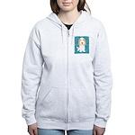 Tan & White PBGV Women's Zip Hoodie