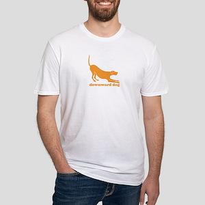 Downward Dog in Orange Fitted T-Shirt