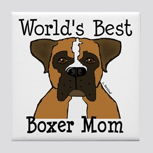 World's Best Boxer Mom Tile Coaster
