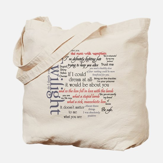Twilight Quote Block Tote Bag