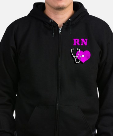 RN Nurses Care Zip Hoodie (dark)