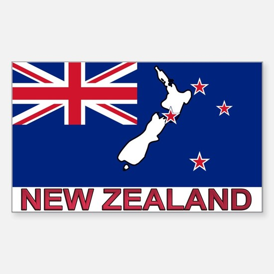 New Zealand Flag (labeled) Rectangle Decal