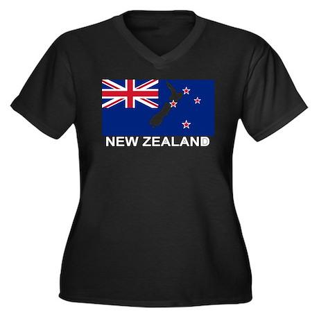 New Zealand Flag (labeled) Women's Plus Size V-Nec