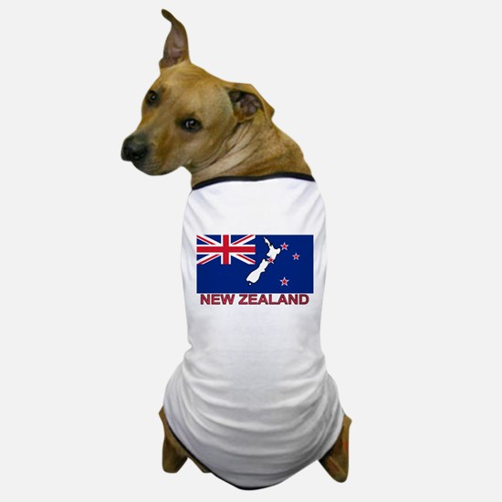 New Zealand Flag (labeled) Dog T-Shirt