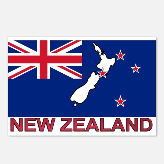 New Zealand Flag (labeled) Postcards (Package of 8