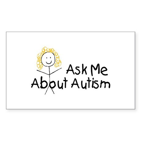 Ask Me About Autism Rectangle Sticker