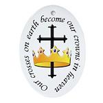 Cross & Crown Oval Ornament