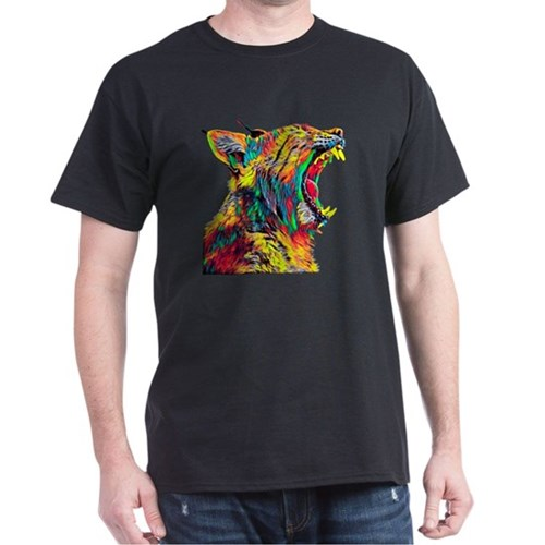 Bobcat Lynx Head Profile Roaring Colored G T-Shirt