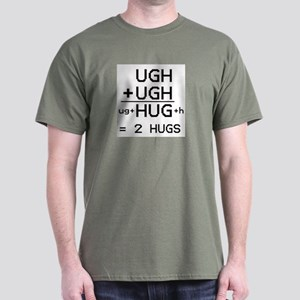 """HUG not UGH"" dark color T-shirt"