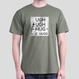 """HUG not UGH"" dark color T-shirt"